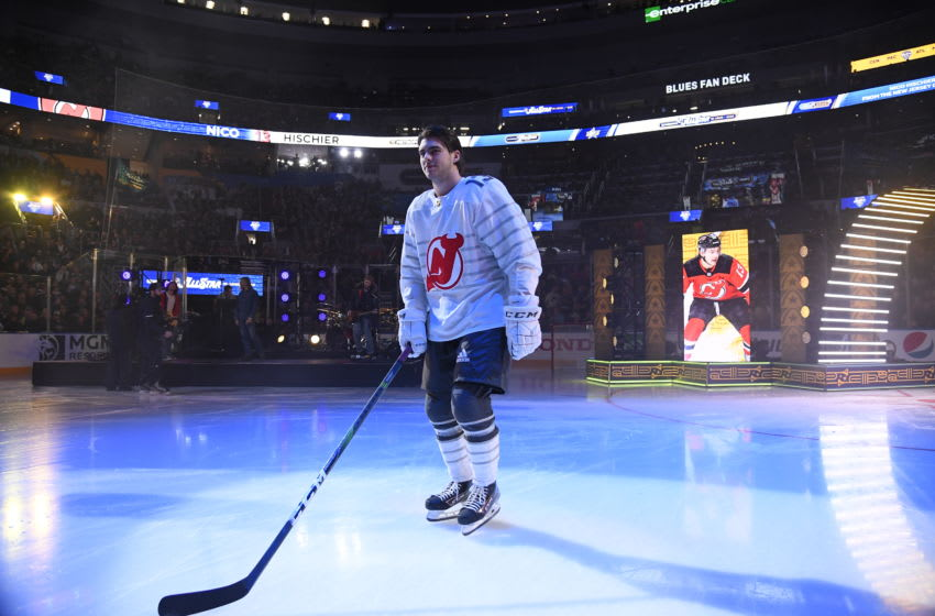 ST LOUIS, MISSOURI - JANUARY 25: Nico Hischier #13 of the New Jersey Devils takes the ice during player introductions prior to the 2020 NHL All-Star Game at the Enterprise Center on January 25, 2020 in St Louis, Missouri. (Photo by Brian Babineau/NHLI via Getty Images)