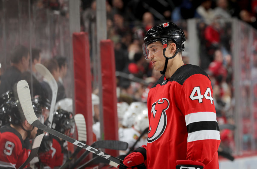 Miles Wood #44 of the New Jersey Devils (Photo by Elsa/Getty Images)