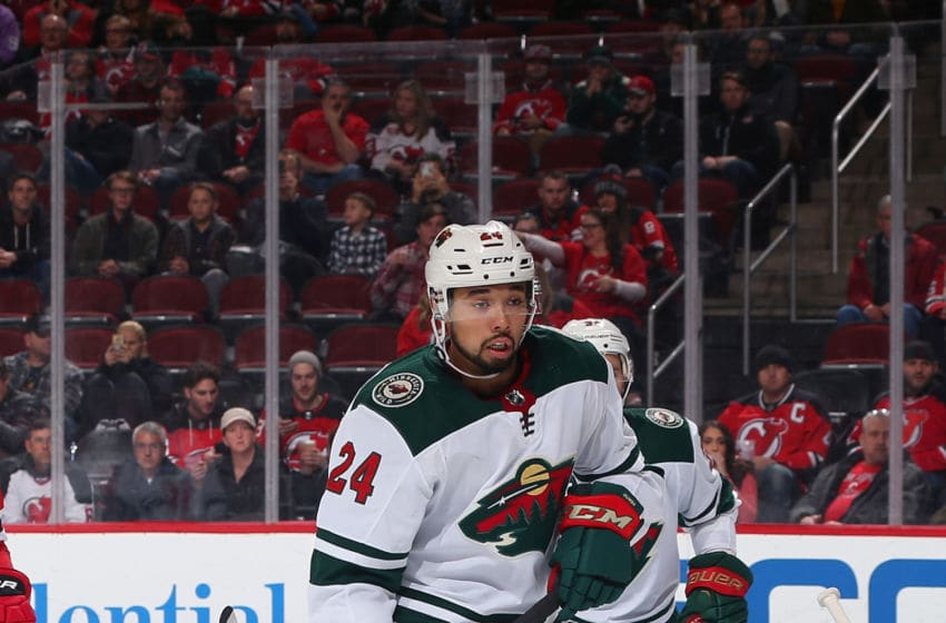 NEWARK, NJ - FEBRUARY 22: Matt Dumba #24 of the Minnesota Wild skates in the first-period against the New Jersey Devils during the game at Prudential Center on February 22, 2018 in Newark, New Jersey. (Photo by Andy Marlin/NHLI via Getty Images)