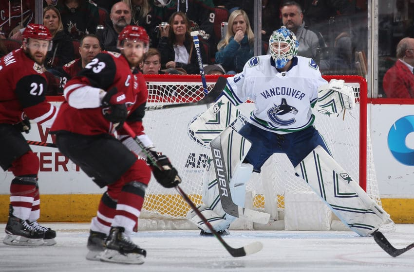 GLENDALE, ARIZONA - FEBRUARY 28: Goaltender Thatcher Demko #35 of the Vancouver Canucks in action during the third period of the NHL game against the Arizona Coyotes at Gila River Arena on February 28, 2019 in Glendale, Arizona. The Coyotes defeated the Canucks 5-2. (Photo by Christian Petersen/Getty Images)