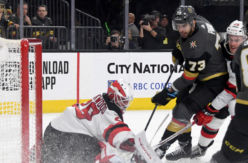 LAS VEGAS, NEVADA - MARCH 03: Mackenzie Blackwood #29 of the New Jersey Devils makes a save against Brandon Pirri #73 of the Vegas Golden Knights in the second period of their game at T-Mobile Arena on March 3, 2020 in Las Vegas, Nevada. (Photo by Ethan Miller/Getty Images)