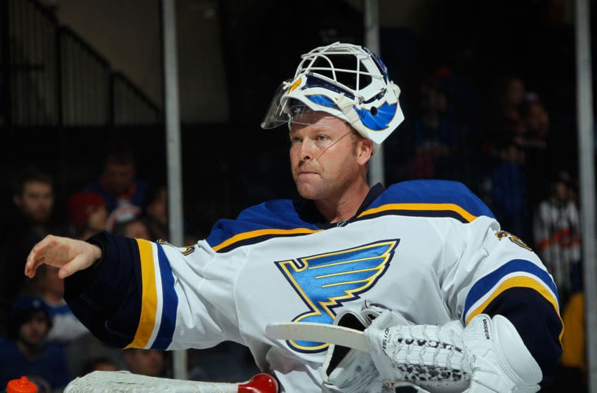 UNIONDALE, NY - DECEMBER 06: Martin Brodeur #30 of the St. Louis Blues takes a break during the game against New York Islanders at the Nassau Veterans Memorial Coliseum on December 6, 2014 in Uniondale, New York. The Blues defeated the Islanders 6-4. (Photo by Bruce Bennett/Getty Images)