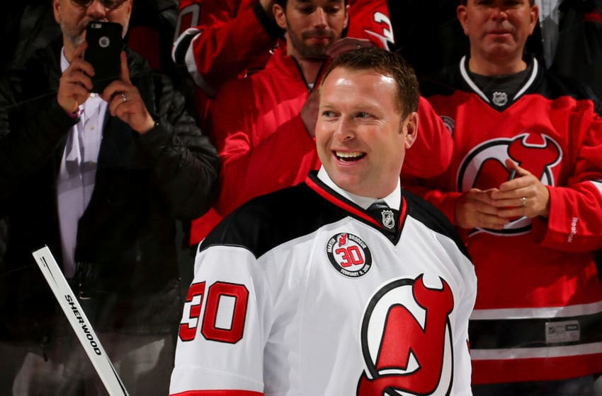 NEWARK, NJ - FEBRUARY 09: Former New Jersey Devils goaltender Martin Brodeur smiles as he leaves the ice after his jersey retirement ceremony before the game between the New Jersey Devils and the Edmonton Oilers on 9, 2016 at Prudential Center in Newark, New Jersey. (Photo by Elsa/Getty Images)