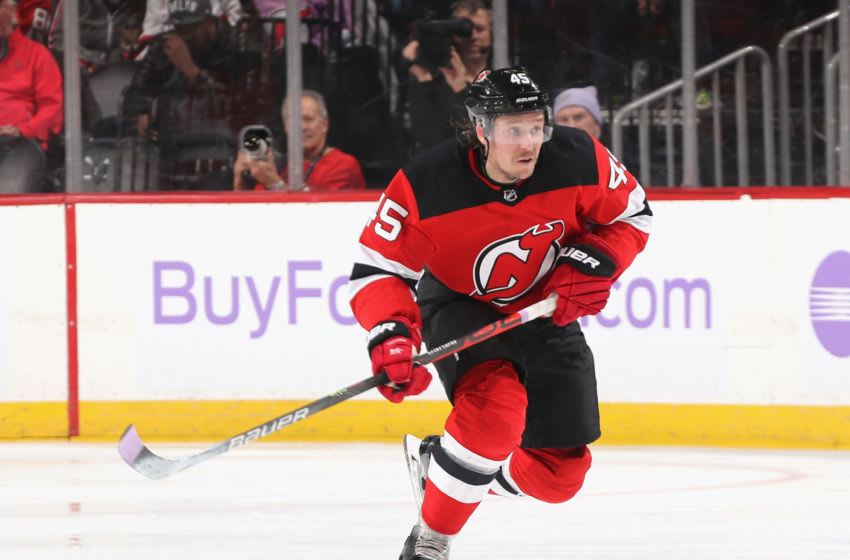 NEWARK, NEW JERSEY - NOVEMBER 23: Sami Vatanen #45 of the New Jersey Devils skates against the Detroit Red Wings at the Prudential Center on November 23, 2019 in Newark, New Jersey. The Devils defeated the Red Wings 5-1. (Photo by Bruce Bennett/Getty Images)
