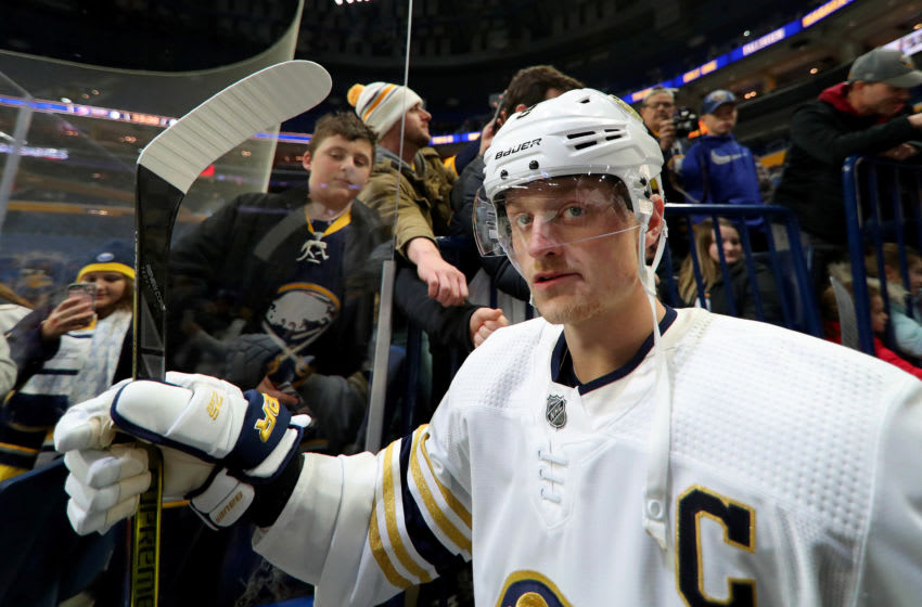 Dec 2, 2019; Buffalo, NY, USA; Buffalo Sabres center Jack Eichel (9) makes his way to the ice before a game against the New Jersey Devils at KeyBank Center. Mandatory Credit: Timothy T. Ludwig-USA TODAY Sports