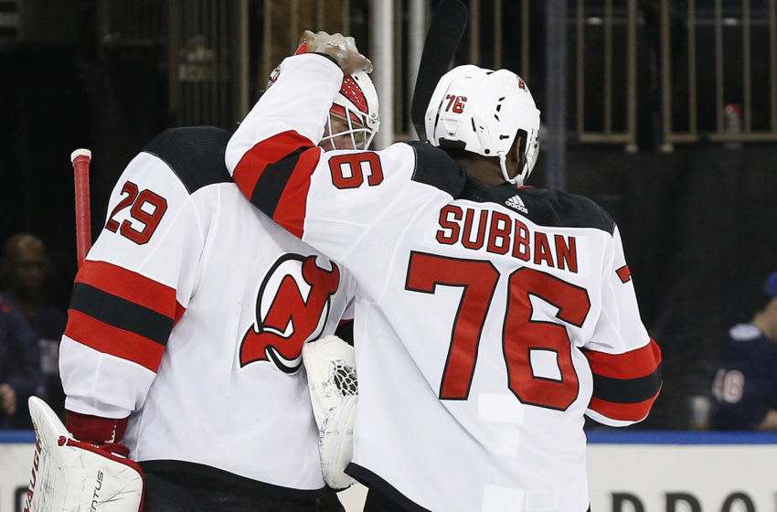 Mar 7, 2020; New York, New York, USA; New Jersey Devils goaltender Mackenzie Blackwood (29) is congratulated by defenseman P.K. Subban (76) after defeating the New York Rangers at Madison Square Garden. Mandatory Credit: Andy Marlin-USA TODAY Sports