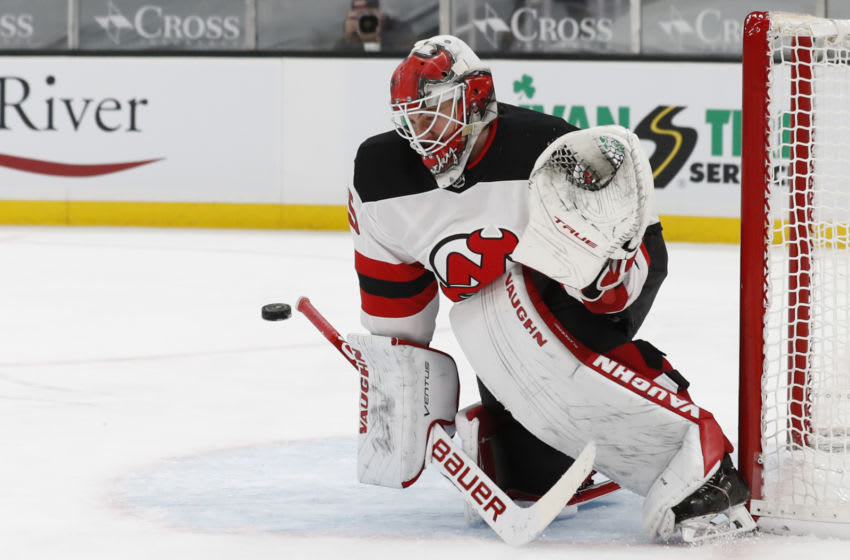 Mar 28, 2021; Boston, Massachusetts, USA; New Jersey Devils goaltender Mackenzie Blackwood (29) makes a save against the Boston Bruins during the first period at TD Garden. Mandatory Credit: Winslow Townson-USA TODAY Sports