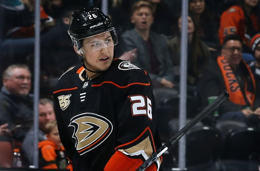 ANAHEIM, CA - DECEMBER 29: Brandon Montour #26 of the Anaheim Ducks reacts after a penalty during the game against the Arizona Coyotes on December 29, 2018 at Honda Center in Anaheim, California. (Photo by Debora Robinson/NHLI via Getty Images)