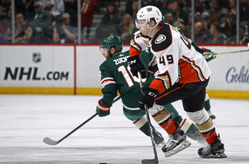 ST. PAUL, MN - JANUARY 17: Max Jones #49 of the Anaheim Ducks skates with the puck during a game with the Minnesota Wild at Xcel Energy Center on January 17, 2018 in St. Paul, Minnesota.(Photo by Bruce Kluckhohn/NHLI via Getty Images)