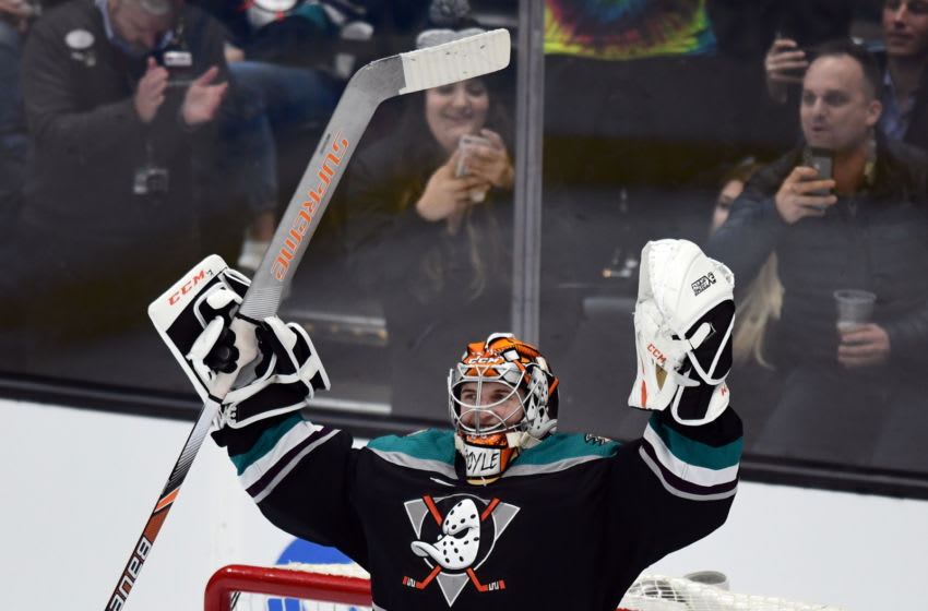 ANAHEIM, CA - FEBRUARY 13: Anaheim Ducks goalie Kevin Boyle (40) reacts after getting his first career NHL victory and shutout in his first NHL start in a game that the Ducks defeated the Vancouver Canucks 1 to 0 in a game played on February 13, 2019 at the Honda Center in Anaheim, CA. (Photo by John Cordes/Icon Sportswire via Getty Images)