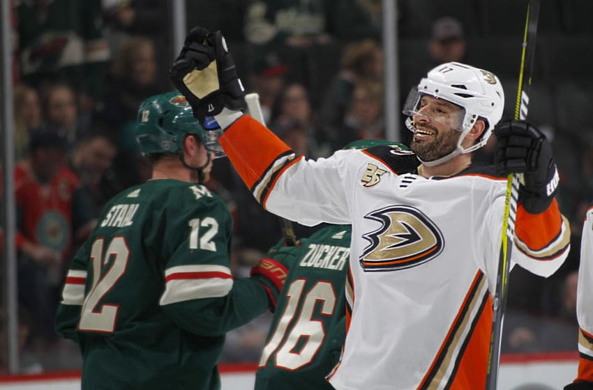 ST. PAUL, MN - FEBRUARY 19: Ryan Kesler #17 of the Anaheim Ducks celebrates his 3rd period goal during a game with the Minnesota Wild at Xcel Energy Center on February 19, 2019 in St. Paul, Minnesota.(Photo by Bruce Kluckhohn/NHLI via Getty Images)