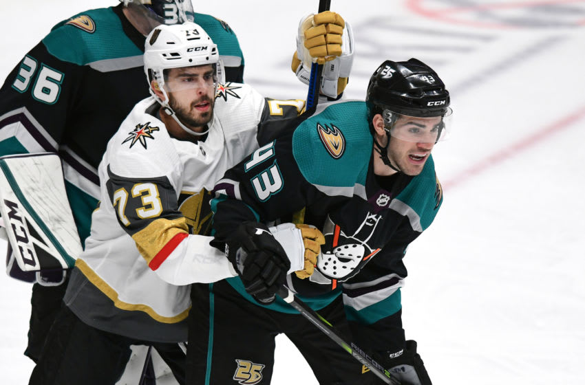 ANAHEIM, CA - MARCH 01: Vegas Golden Knights center Brandon Pirri (73) and Anaheim Ducks defenseman Jaycob Megna (43) fight for position in front of the Ducks net in the second period of a game against the Anaheim Ducks played on March 1, 2019 at the Honda Center in Anaheim, CA. (Photo by John Cordes/Icon Sportswire via Getty Images)