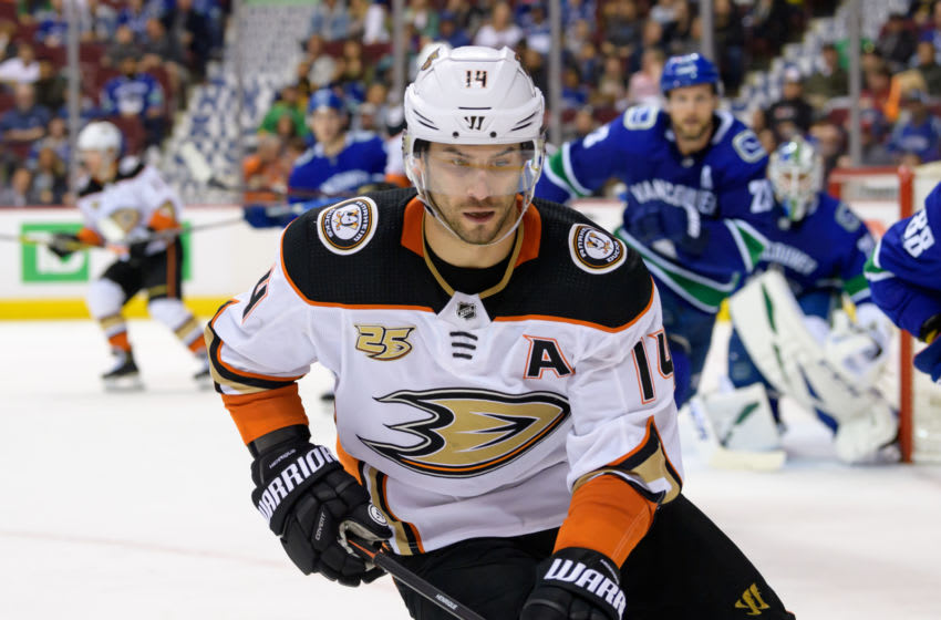 VANCOUVER, BC - MARCH 26: Anaheim Ducks Center Adam Henrique (14) skates up ice during their NHL game against the Vancouver Canucks at Rogers Arena on March 26, 2019 in Vancouver, British Columbia, Canada. Anaheim won 5-4. (Photo by Derek Cain/Icon Sportswire via Getty Images)