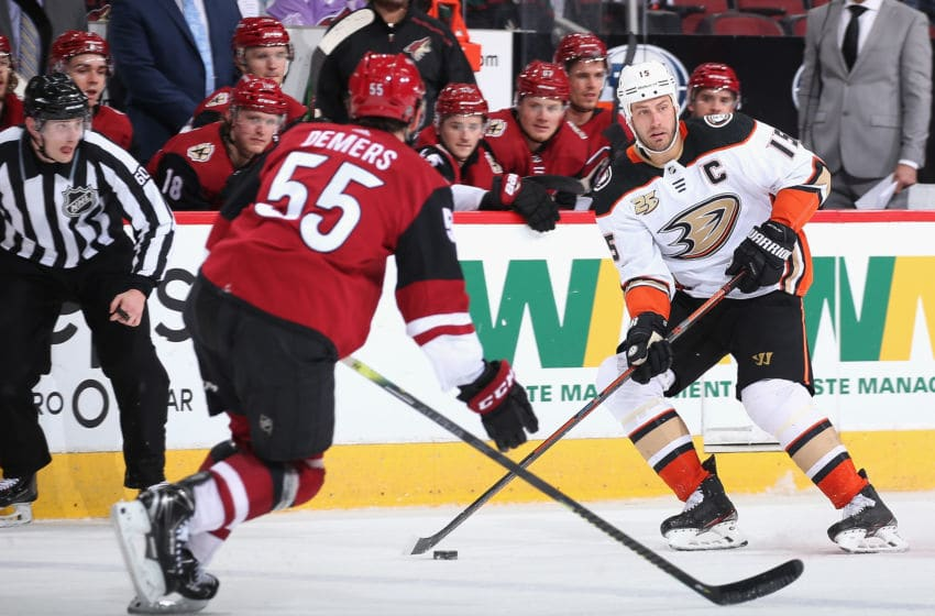 GLENDALE, ARIZONA - MARCH 14: Ryan Getzlaf #15 of the Anaheim Ducks skates with the puck during the second period of the NHL game against the Arizona Coyotes at Gila River Arena on March 14, 2019 in Glendale, Arizona. (Photo by Christian Petersen/Getty Images)