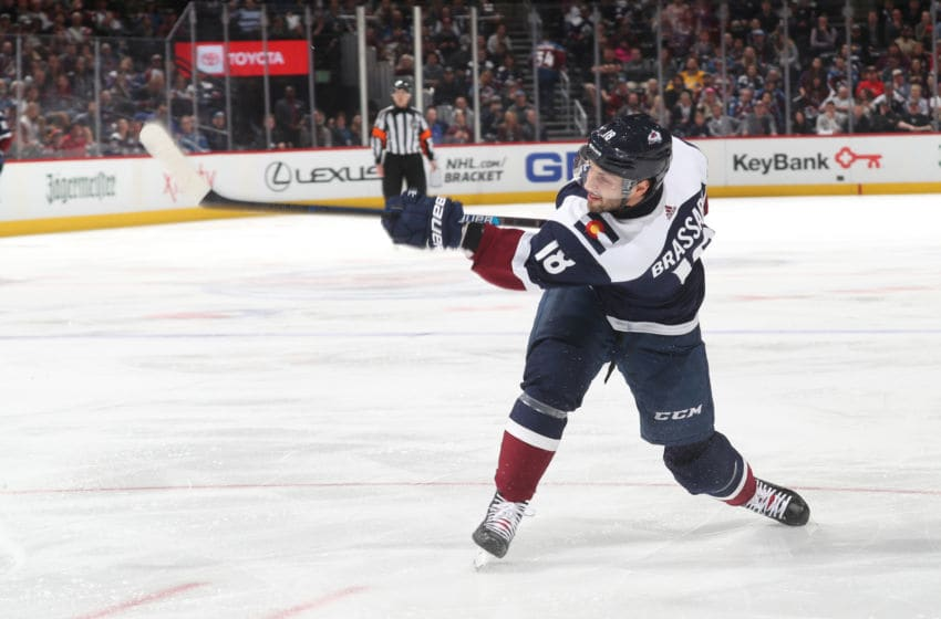 DENVER, CO - APRIL 04: Derick Brassard #18 of the Colorado Avalanche shoots against the Winnipeg Jets at the Pepsi Center on April 4, 2019 in Denver, Colorado. The Avalanche defeated the Jets 3-2 in overtime. (Photo by Michael Martin/NHLI via Getty Images)