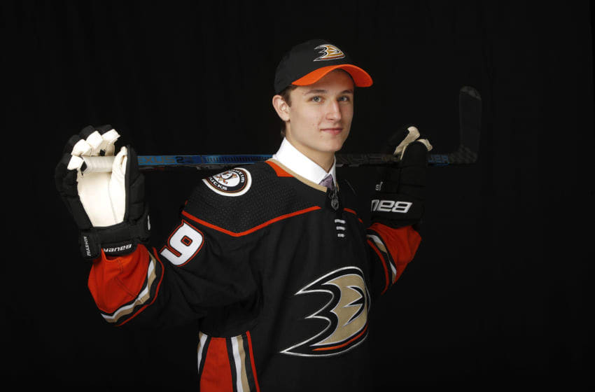 VANCOUVER, BRITISH COLUMBIA - JUNE 21: Trevor Zegras poses for a portrait after being selected ninth overall by the Anaheim Ducks during the first round of the 2019 NHL Draft at Rogers Arena on June 21, 2019 in Vancouver, Canada. (Photo by Kevin Light/Getty Images)