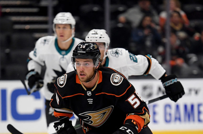 Chase De Leo #58 of the Anaheim Ducks (Photo by Harry How/Getty Images)