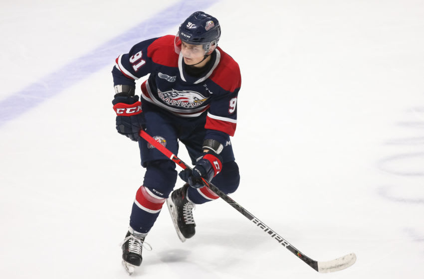 Cole Perfetti #91 of the Saginaw Spirit (Photo by Chris Tanouye/Getty Images)
