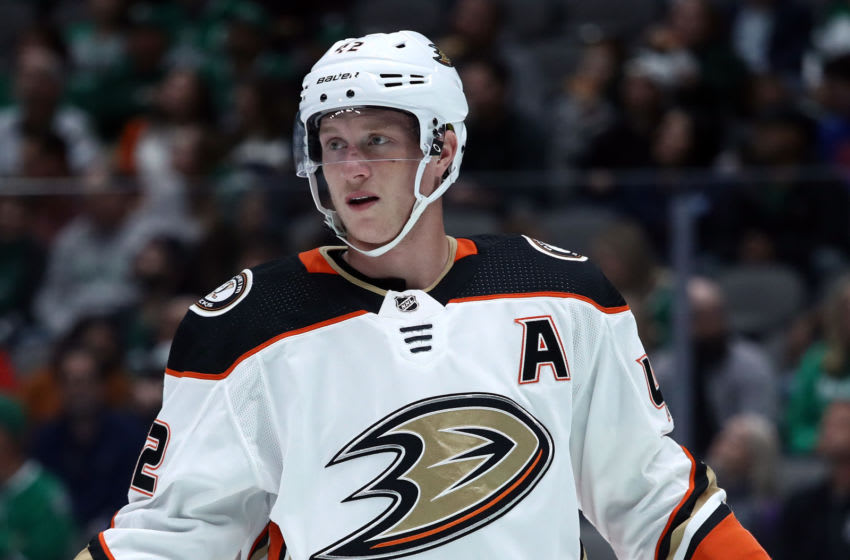 DALLAS, TEXAS - OCTOBER 24: Josh Manson #42 of the Anaheim Ducks in the first period at American Airlines Center on October 24, 2019 in Dallas, Texas. (Photo by Ronald Martinez/Getty Images)