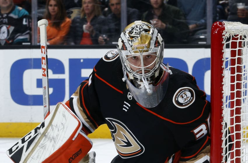 ANAHEIM, CA - NOVEMBER 5: John Gibson #36 of the Anaheim Ducks holds the crease during the game against the Minnesota Wild at Honda Center on November 5, 2019 in Anaheim, California. (Photo by Debora Robinson/NHLI via Getty Images)