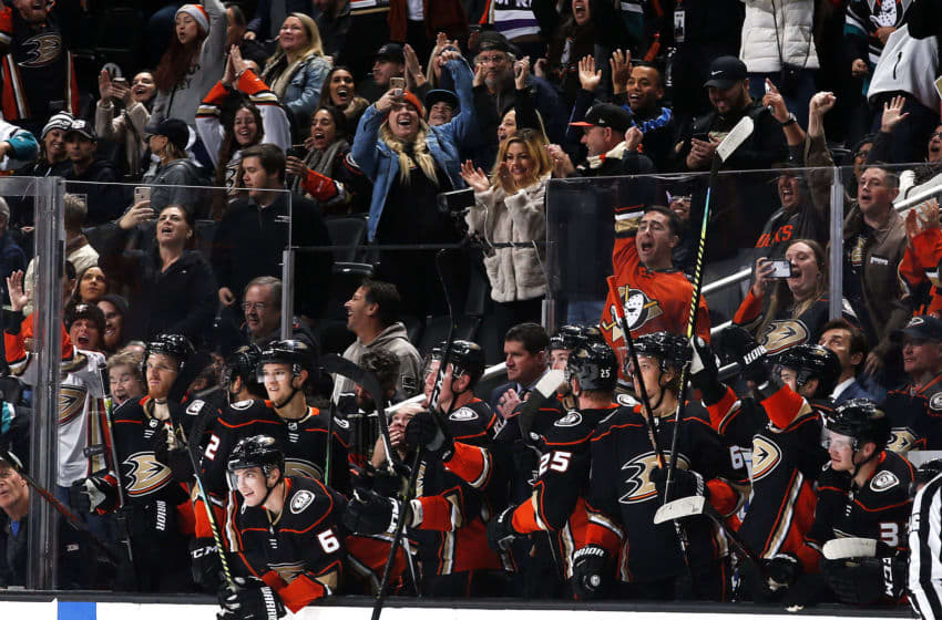 ANAHEIM, CA - DECEMBER 2: The Anaheim Ducks celebrate an empty net goal during the game against the Los Angeles Kings at Honda Center on December 2, 2019 in Anaheim, California. (Photo by Debora Robinson/NHLI via Getty Images)