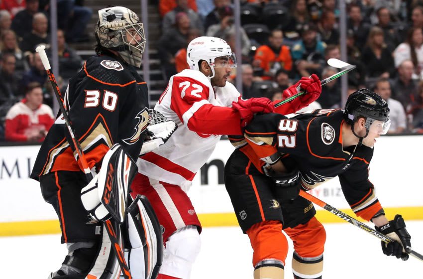 ANAHEIM, CALIFORNIA - NOVEMBER 12: Andreas Athanasiou #72 of the Detroit Red Wings pushes Jacob Larsson #32 as Ryan Miller #30 of the Anaheim Ducks looks on during the second period of a game at Honda Center on November 12, 2019 in Anaheim, California. (Photo by Sean M. Haffey/Getty Images)