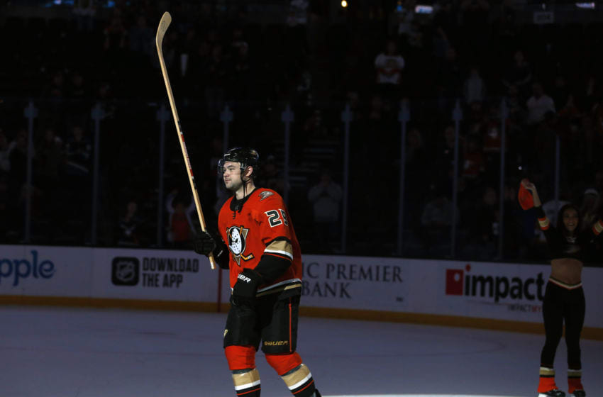 ANAHEIM, CA - DECEMBER 27: Devin Shore #29 of the Anaheim Ducks waves to the crowd as the game's second star following a 4-3 win over the Vegas Golden Knights at Honda Center on December 27, 2019 in Anaheim, California. (Photo by Debora Robinson/NHLI via Getty Images)