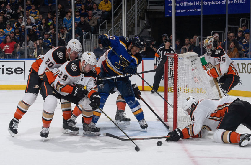ST. LOUIS, MO - JANUARY 13: Nicolas Deslauriers #20 and Devin Shore #29 of the Anaheim Ducks defend the net against Brayden Schenn #10 of the St. Louis Blues at Enterprise Center on January 13, 2020 in St. Louis, Missouri. (Photo by Scott Rovak/NHLI via Getty Images)