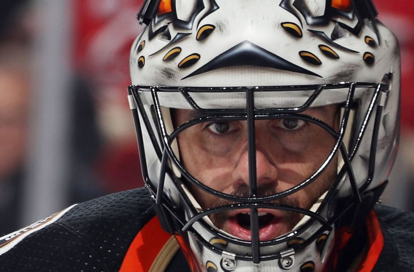 NEWARK, NEW JERSEY - DECEMBER 18: Ryan Miller #30 of the Anaheim Ducks tends net against the New Jersey Devils during the second period at the Prudential Center on December 18, 2019 in Newark, New Jersey. (Photo by Bruce Bennett/Getty Images)