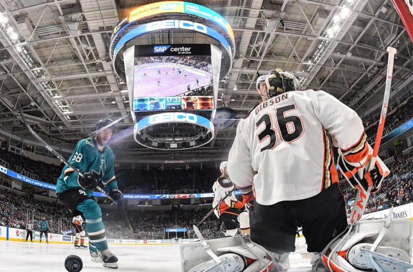 SAN JOSE, CA - JANUARY 27: Melker Karlsson #68 watches as Stefan Noesen #11 of the San Jose Sharks scores a goal against John Gibson #36 of the Anaheim Ducks at SAP Center on January 27, 2020 in San Jose, California. (Photo by Brandon Magnus/NHLI via Getty Images)