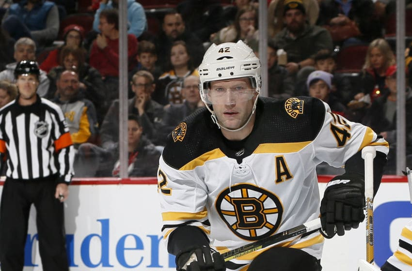 NEWARK, NJ - DECEMBER 31: David Backes #42 of the Boston Bruins skates during an NHL hockey game against the New Jersey Devils on December 31, 2019 at the Prudential Center in Newark, New Jersey. Devils won 3-2 in a shootout. (Photo by Paul Bereswill/Getty Images)