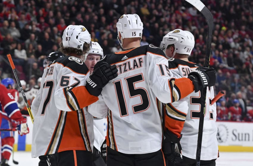 MONTREAL, QC - FEBRUARY 6: Jakob Silfverberg #33 of the Anaheim Ducks celebrates with teammates after scoring a goal against the Montreal Canadiens in the NHL game at the Bell Centre on February 6, 2020 in Montreal, Quebec, Canada. (Photo by Francois Lacasse/NHLI via Getty Images)