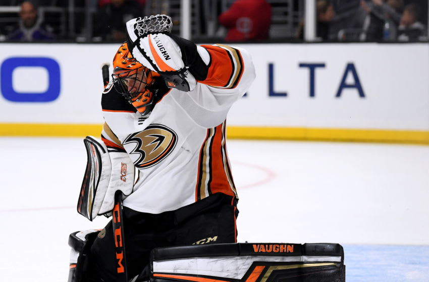 LOS ANGELES, CALIFORNIA - FEBRUARY 01: Ryan Miller #30 of the Anaheim Ducks reacts to a shot during the second period against the Los Angeles Kings at Staples Center on February 01, 2020 in Los Angeles, California. (Photo by Harry How/Getty Images)