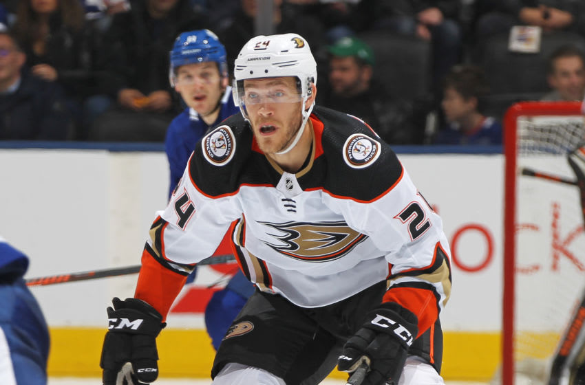 TORONTO, ON - FEBRUARY 7: Carter Rowney #24 of the Anaheim Ducks skates against the Toronto Maple Leafs during an NHL game at Scotiabank Arena on February 7, 2020 in Toronto, Ontario, Canada. The Maple Leafs defeated the Ducks 5-4 in overtime. (Photo by Claus Andersen/Getty Images)
