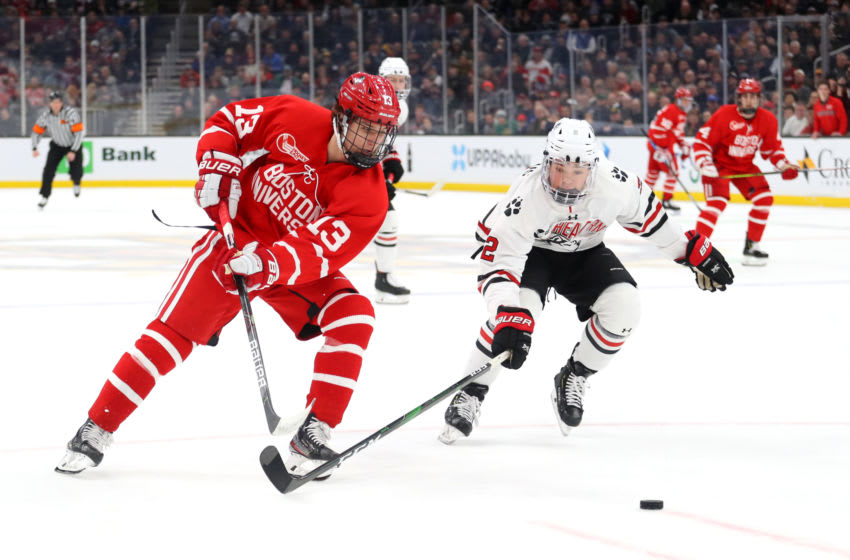Trevor Zegras #13 of the Boston University Terriers (Photo by Maddie Meyer/Getty Images)