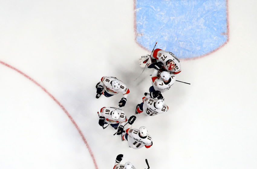 ANAHEIM, CALIFORNIA - FEBRUARY 19: Sergei Bobrovsky #72, Mike Hoffman #68, Brett Connolly #10, Noel Acciari #55, Aleksi Saarela #28, Mark Pysyk #13 , Aleksander Barkov #16, Sam Montembeault #33, and Colton Sceviour #7 of the Florida Panthers celebrate after defeating the Anaheim Ducks 4-1 in a game at Honda Center on February 19, 2020 in Anaheim, California. (Photo by Sean M. Haffey/Getty Images)