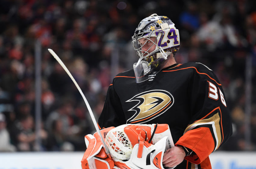 ANAHEIM, CALIFORNIA - FEBRUARY 25: John Gibson #36 of the Anaheim Ducks (Photo by Harry How/Getty Images)