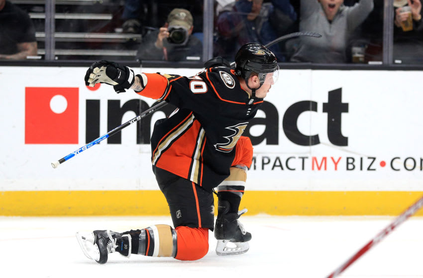 ANAHEIM, CALIFORNIA - MARCH 10: Nicolas Deslauriers #20 of the Anaheim Ducks reacts after scoring a goal during the first period of a game against the Ottawa Senators at Honda Center on March 10, 2020 in Anaheim, California. (Photo by Sean M. Haffey/Getty Images)