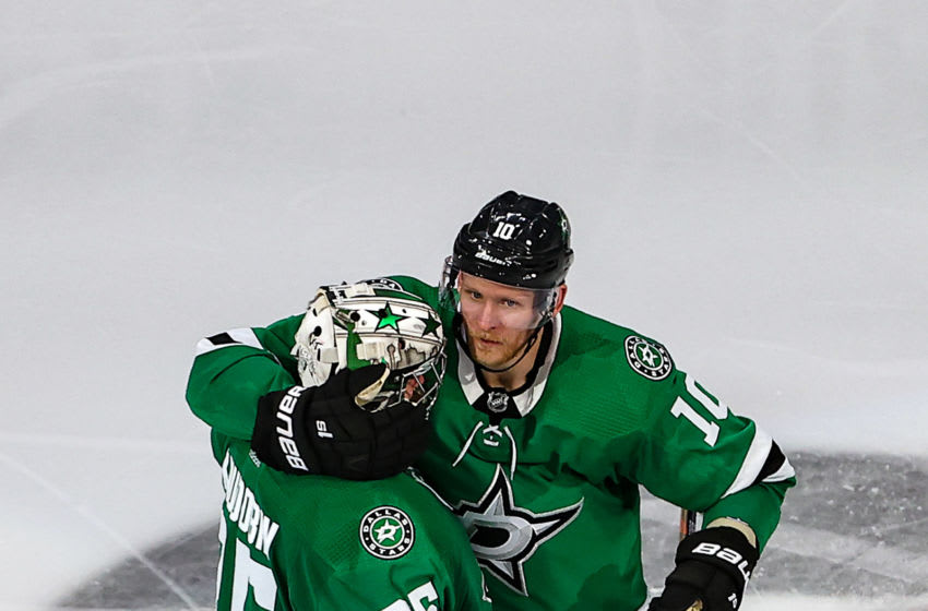 Corey Perry #10 and Anton Khudobin #35 of the Dallas Stars (Photo by Bruce Bennett/Getty Images)