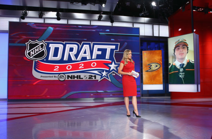 Jamie Hersch of the NHL Network interviews Jamie Drysdale from Erie of the OHL after his selection by the Anaheim Ducks (Photo by Mike Stobe/Getty Images)