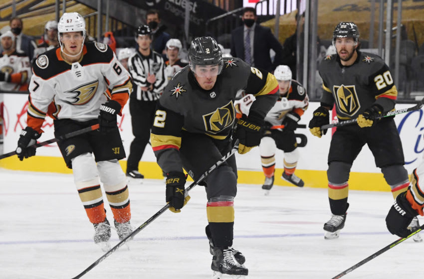 Zach Whitecloud #2 of the Vegas Golden Knights skates with the puck against the Anaheim Ducks (Photo by Ethan Miller/Getty Images)