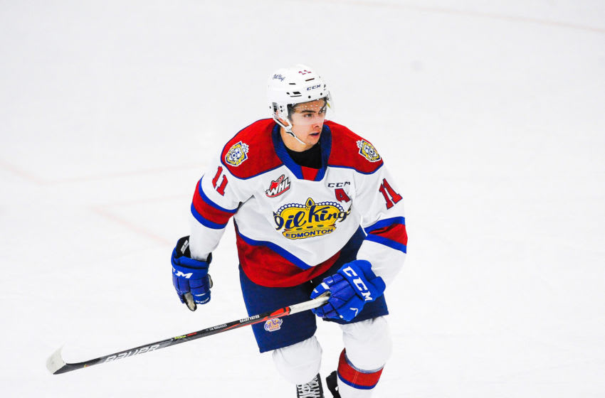 Dylan Guenther #11 of the Edmonton Oil Kings (Photo by Derek Leung/Getty Images)
