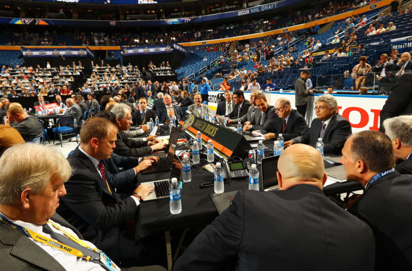 A general view of the draft table for the Anaheim Ducks (Photo by Bruce Bennett/Getty Images)
