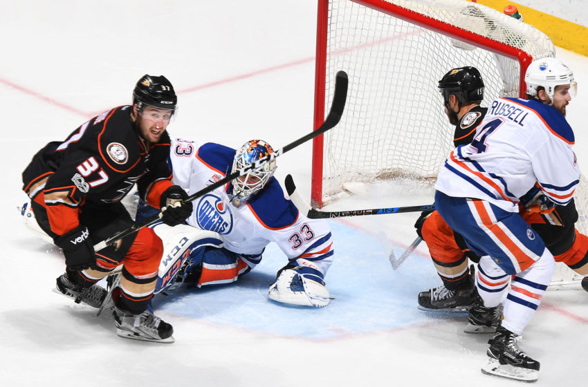 ANAHEIM, CA - MAY 10: Nick Ritchie #37 of the Anaheim Ducks scores the game-winning goal in the third period against Cam Talbot #33 of the Edmonton Oilers in Game Seven of the Western Conference Second Round during the 2017 NHL Stanley Cup Playoffs at Honda Center on May 10, 2017 in Anaheim, California. (Photo by Robert Binder/NHLI via Getty Images)