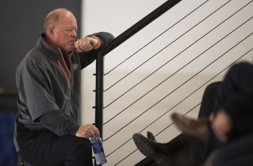ANAHEIM, CA - JUNE 29: GM Bob Murray talks with his staff during the Anaheim Ducks' annual development camp at Anaheim ICE in Anaheim on Friday, June 29, 2018. (Photo by Kevin Sullivan/Orange County Register via Getty Images)