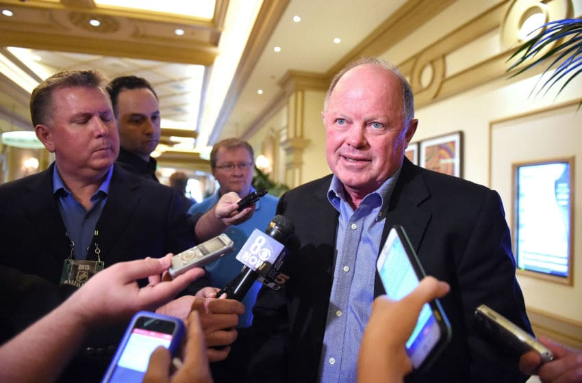 LAS VEGAS, NV - JUNE 23: Anaheim Ducks general manager Bob Murray meets with the media following the NHL general managers meetings at the Bellagio Las Vegas on June 23, 2015 in Las Vegas, Nevada. (Photo by Brian Babineau/NHLI via Getty Images)