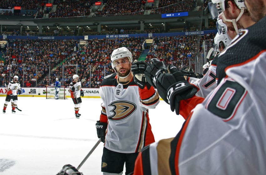 VANCOUVER, BC - MARCH 27: Andrew Cogliano #7 of the Anaheim Ducks (Photo by Jeff Vinnick/NHLI via Getty Images).