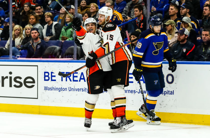 ST. LOUIS, MO - DECEMBER 14: Anaheim Ducks' Kevin Roy, left, is congratulated by Anaheim Ducks' Ryan Getzlaf after scoring a goal during the third period of an NHL hockey game between the Anaheim Ducks and the St. Louis Blues. The Anaheim Ducks defeated the St. Louis Blues 3-1 on December 14, 2017, at Scottrade Center in St. Louis, MO. (Photo by Tim Spyers/Icon Sportswire via Getty Images)