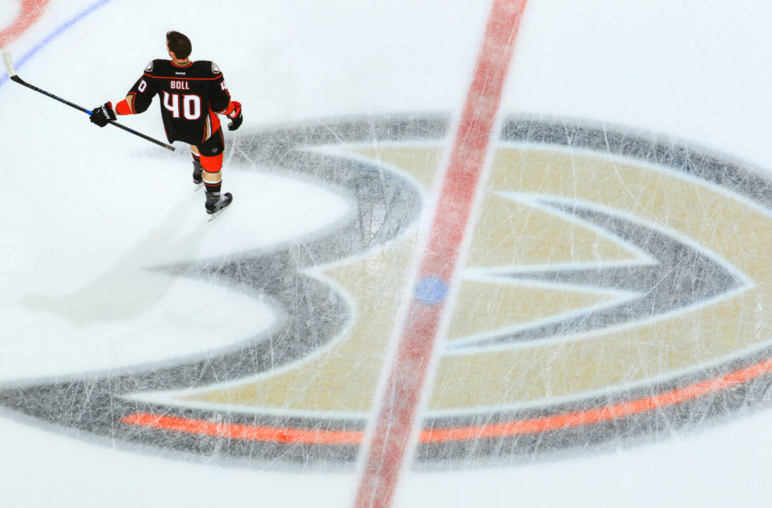 ANAHEIM, CA - NOVEMBER 22: Jared Boll #40 of the Anaheim Ducks skates in warm-ups prior to the game against the New York Islanders on November 22, 2016 at Honda Center in Anaheim, California. (Photo by Debora Robinson/NHLI via Getty Images)