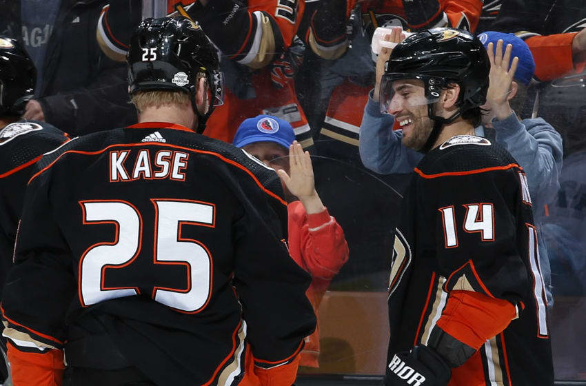 ANAHEIM, CA - FEBRUARY 11: Adam Henrique #14 and Ondrej Kase #25 of the Anaheim Ducks celebrate a goal in the third period of the game against the San Jose Sharks on February 11, 2018 at Honda Center in Anaheim, California. (Photo by Debora Robinson/NHLI via Getty Images)